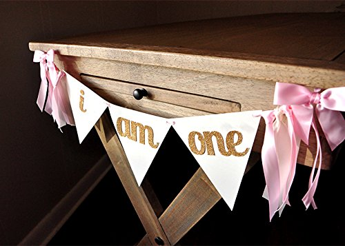 i-am-one-banner-first-birthday-banner-i-am-one-high-chair-banner-pink-and-gold-bunting-banner