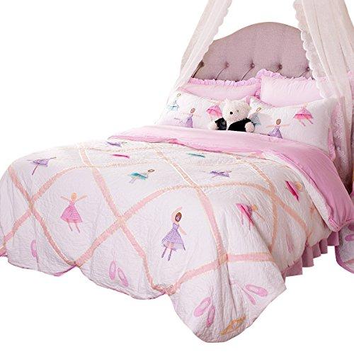 Brandream Pink Ballet Kids Comforter Set Cute Girls Bed Quilt Set Twin Queen Size