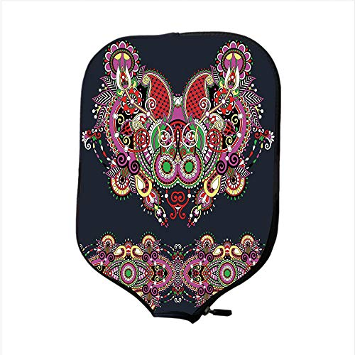 Embroidery Mustang (iPrint Neoprene Pickleball Paddle Racket Cover Case,Ethnic Decor,Ukrainian Embroidery Fashioned Ornate Paisley with Unique Features Motif,Violet Dark Grey,Fit for Most Rackets - Protect Your Paddle)