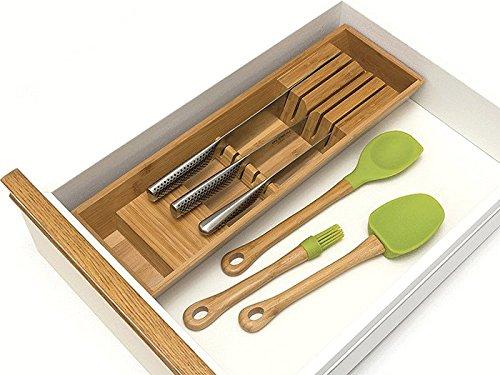 Lipper International 8859 Bamboo Wood In-Drawer Knife Organizer, 18