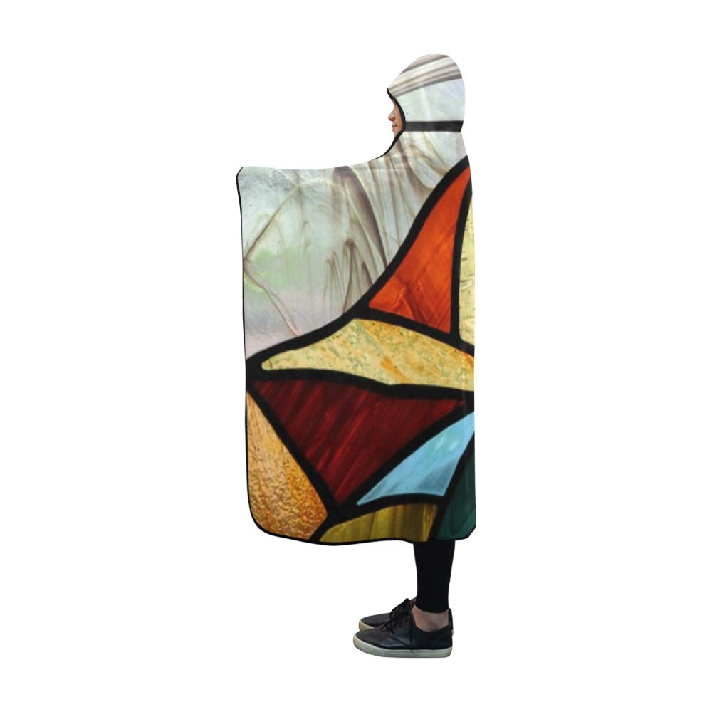 YIJIEVE Hooded Blanket Glass Art Beauty Abstract Relaxation Spa Blanket 60x50 Inch Comfotable Hooded Throw Wrap