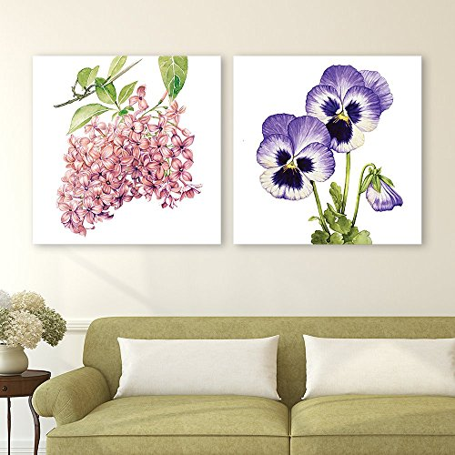 2 Panel Square Watercolor Style Pink and Purple Flowers on The Branch x 2 Panels