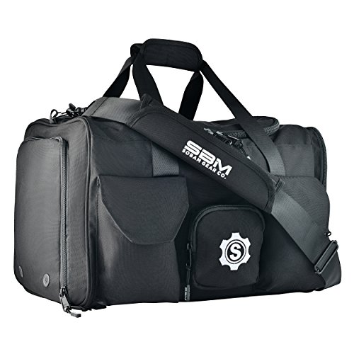 (SOBAM Gear Co. Large Gym Duffel Bag Workout Bag for Men and Women with Shoe Compartment, Wet and Dry Pocket, Water Bottle Holder, 9 Pockets, 20in x 12in x 12in,)