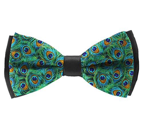 Adjustable Men's Polyester Bow Ties, Pre-Tied Premium Gentlemen Banded Bow Ties For Chrismas Party Date, Boys Kids Children Teens Gift (Beautiful Peacock Feathers) ()