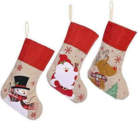 Amazon Com Plus Size Linen Cartoon Christmas Stockings Christmas Decorations Three Pack Clothing