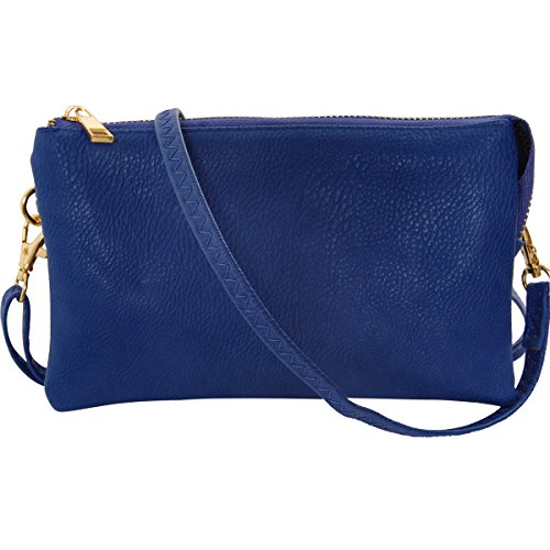 ather Small Crossbody Bag or Wristlet Clutch Purse, Includes Adjustable Shoulder and Wrist Straps, Royal Blue, Cobalt ()