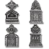 "Prextex Pack of 4 Halloween Décor 22"" RIP Graveyard Lightweight Foam Tombstone Halloween Decorations RIP"