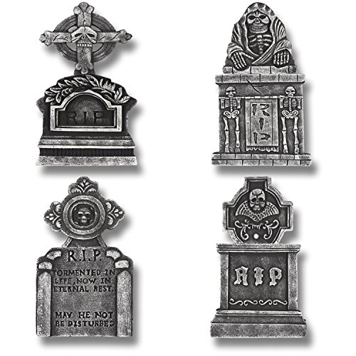 "Prextex Pack of 4 Halloween Décor 22"" RIP Graveyard Lightweight Foam Tombstone Halloween Decorations RIP - Tombstone Halloween Decorations"