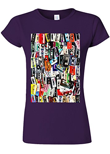 Retro Cassettes Music Novelty Purple Women T Shirt Top-M