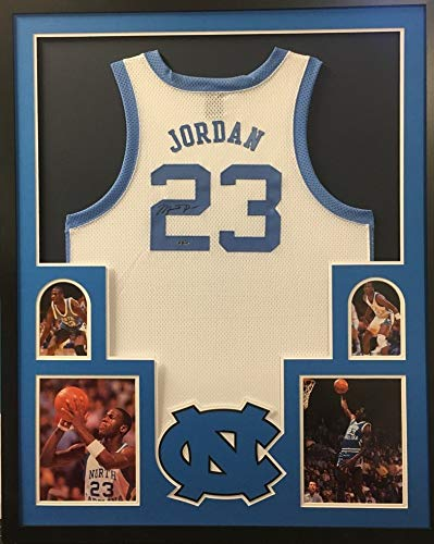 4d93db6050d Image Unavailable. Image not available for. Color: Michael Jordan North  Carolina Tar Heels Autograph Signed Custom Framed Jersey White UDA ...