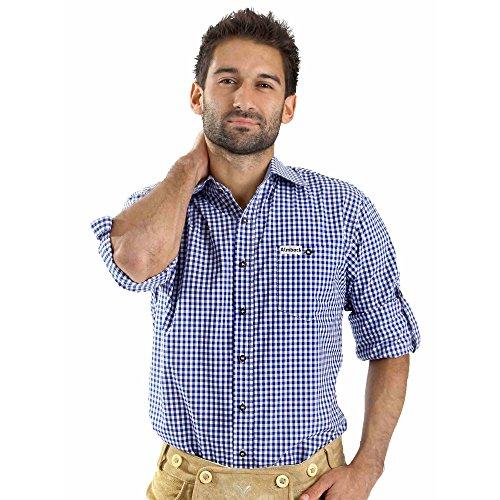 Almbock Trachten Hemd Alois blau weiß kariert - für Herren, kurze Ärmel, slim fit, für Oktoberfest, modern, exklusiv, zu Jeans oder Lederhose