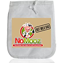 "NoMooz Nut Milk Bag - Large 25cm x 30cm (12"" x 10"") Reusable Fine Nylon Mesh All Purpose Strainer - Cheesecloth Food Grade - Cold Brew Coffee Filter - Free Recipe Ebook"