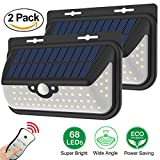 Solar Motion Sensor Lights Outdoor 68 LED Solar Wall Light Waterproof Wireless Solar Powered Security Light with Remote Control for Porch,Garage,Back Door,Fence Deck (2 Pack)