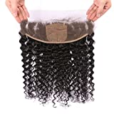 FDshine 13x4 Deep Wave Silk Base Frontal with Baby Hair Hidden Knots Ear to Ear Silk Frontal Closure Free Part (18'', Natural Color)