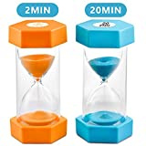 Sand Timer VAGREEZ Hourglass Sand Timer 2 Minutes 20 Minutes Timer Clock Toothbrush Timer for Kids Games Classroom Home Office Kitchen Use (Pack of 2)