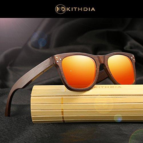 en femmes hommes de bois de style wayfarer pour de soleil noyer Rouge et KITHDIA polarisées Lunettes qva8fCUnt