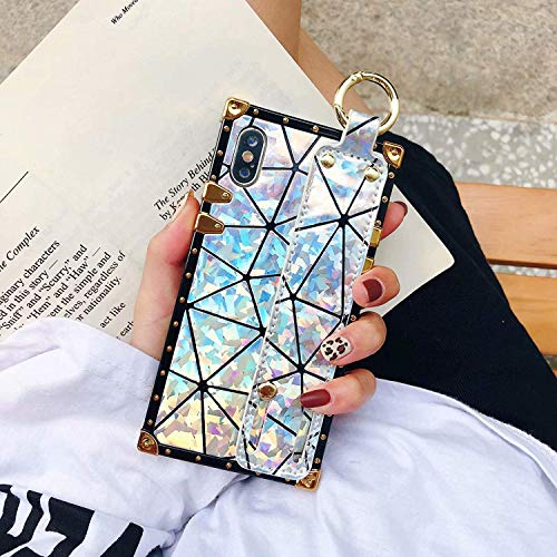 iPhone 8 Plus / 7 Plus Case,SelliPhone Luxury Shiny Diamond Square Glitter Laser Girly Wristband Stand Goddess Trunk Case for iPhone 8/8s/7/7s Plus 5.5