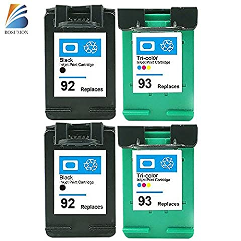 Bosumon 4pk Refilled Ink Cartridges Compatible for Hp 92 Hp 93 Photosmart C3188 C3190 C3193 C3194 (Ink Cartridge Hp 92 93)