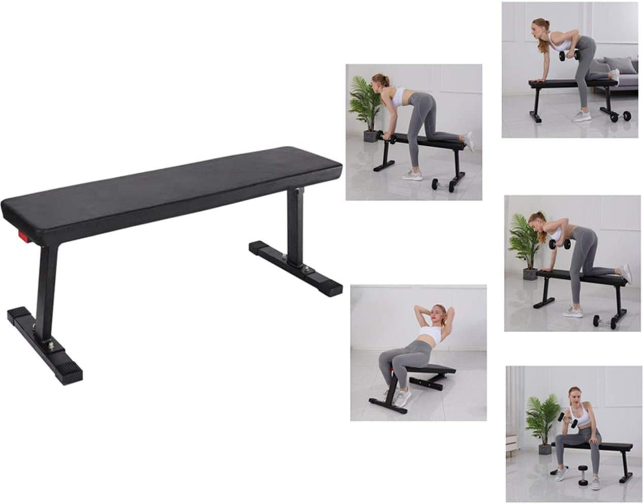 41X14.5X17 600 lbs Capacity Flat Utility Weight Bench for Weight Training and Ab Exercises SB-315 Black