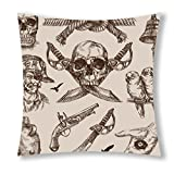 Little Sun 98 Human skeleton and Gun Decorative Throw Pillow Cover 18