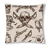 Little Sun 98 Human skeleton and Gun Decorative Throw Pillow Cover 18