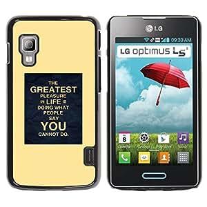 TopCaseStore / la caja del caucho duro de la cubierta de protección de la piel - Inspiring You Life Moving - LG Optimus L5 II Dual E455 E460