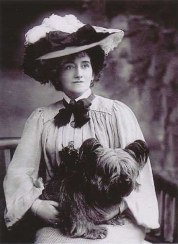 Antique Photo~Woman w Large Hat Holds Skye Terrier Puppy Dog~6 pack NEW Matte Vintage Picture Large Blank Note Cards with Envelopes