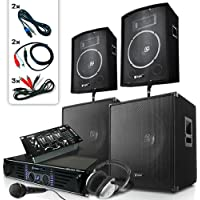 Skytronic DJ PA Set Bassbergen USB 4xBox 1x Endstufe 1x Mixer 2000W