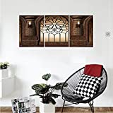 Liguo88 Custom canvas Gothic Decor Collection Illustration of Antique Myst Gate with Oriental Islamic Pattern and Curvings Artistic Design Bedroom Living Room Wall Hanging Brown