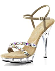 Summitfashions Womens Taupe Dress Shoes Ankle Strap Sandals Rhinestone Clear 5 inch Heels