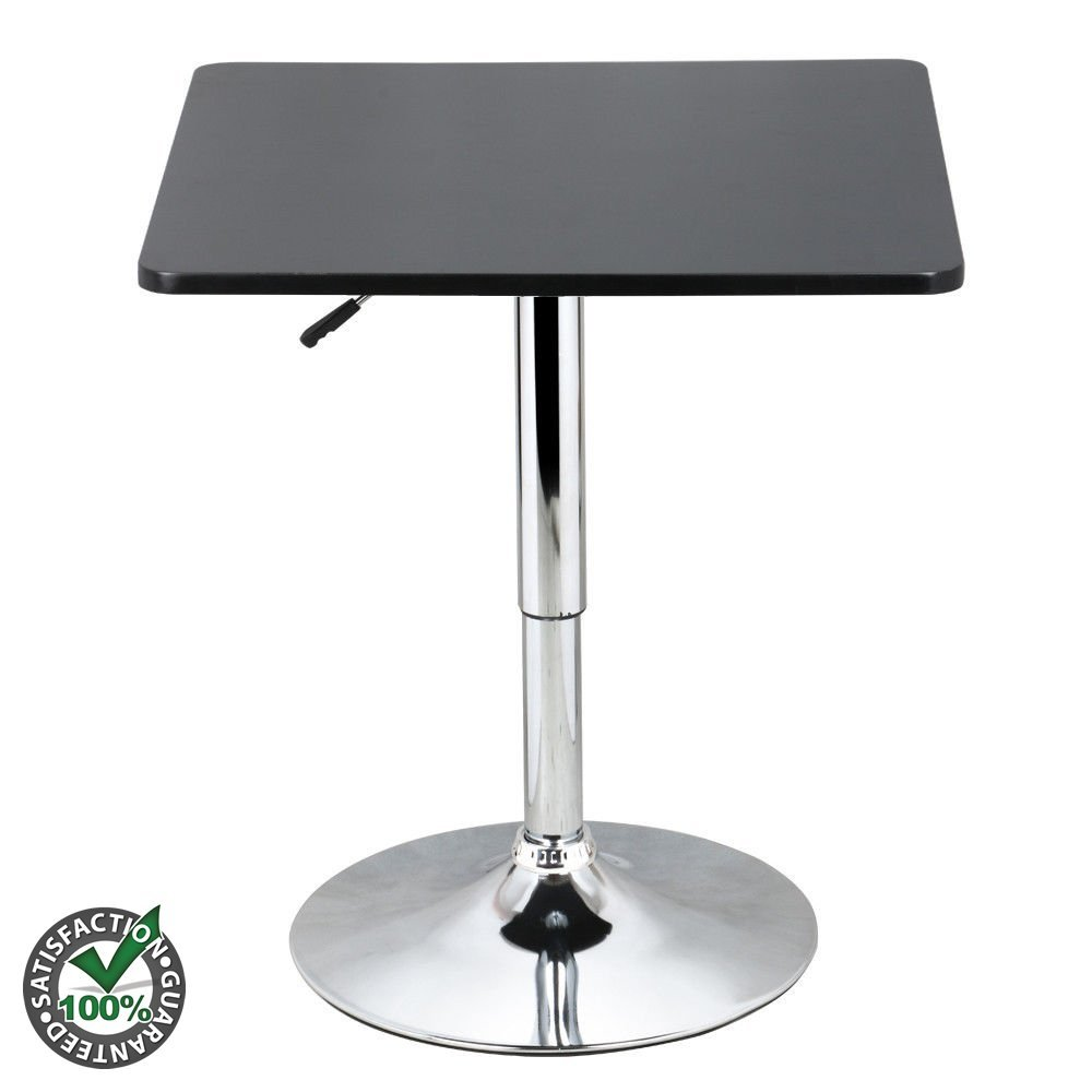Adjustable Height 360 Degree Swivel Square Bar Table 2 Person Black & Silver - Made From MDF and Stainless Steel | Premium Quality Easy Assemble | Widely Use For Pub Cafe Restaurant Bar Cocktail Table