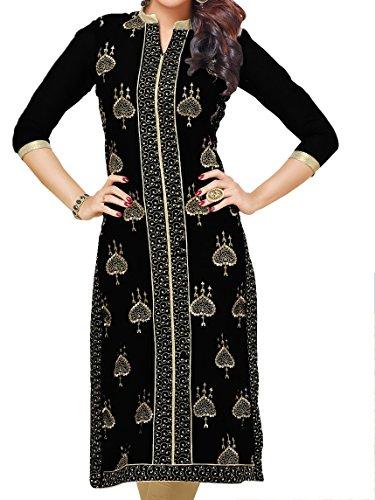 Kurti Mania Women's Silk Dress Golden Hearts (Black, Petite-XL) by Kurti Mania