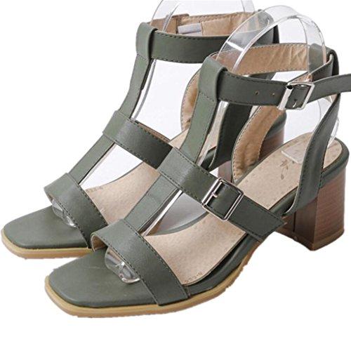Cuadrado Xie Tres Ocio Dew Hebilla Toe Verano Lady Heel Cómodo Shoes Talón Green Estudiantes Cinturón Rough Green 7cm 38 Colores 39 p6rwzpq