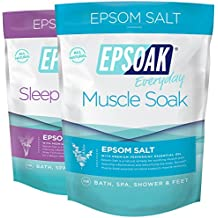 Epsoak Scented Epsom Salt Bundle - 2 Pack of Sleep 2lbs & Muscle Soak 2lbs. All-natural bath soaks