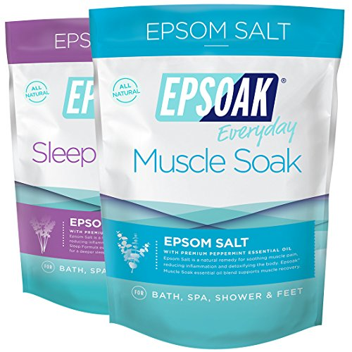 Epsoak Scented Epsom Salt Bundle - 2 Pack of Sleep 2lbs & Muscle Soak 2lbs. All-natural bath soaks (Scented Bath Herbal Salt)