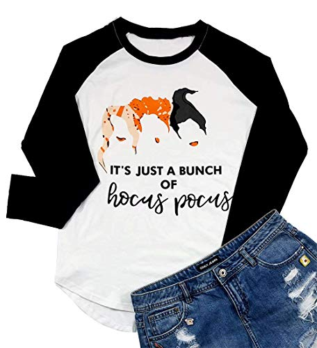 It's Just a Bunch of Hocus Pocus Funny Halloween Shirt Women's Sanderson Sisters Graphic Tees Cute Tops (X-Large, ()