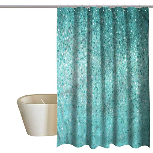 (Denruny Shower Curtains White Ruffle Turquoise,Polka Dot Mosaic,W72 x L96,Shower Curtain for Kids)