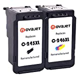 Novajet 2 Pack Remanufactured Ink Cartridge Replacement For Canon PG -245XL CL-246 (1 Black+1 Tri-Color) With Ink Level Indicator Used In Canon PIXMA iP2820 MG2420 MG2520 MG2922 MG2924 MX492 Printer