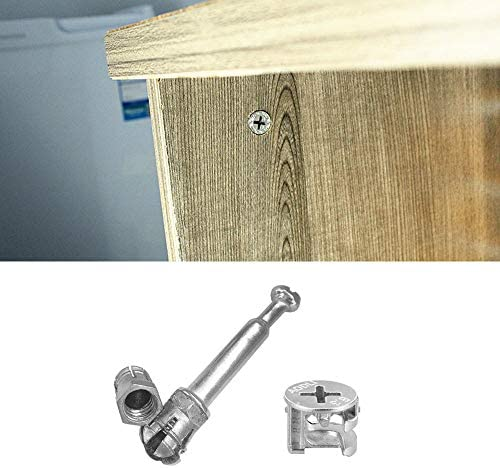 DELSEN 20 Sets Profession 15mm Fixing Screw Eccentric Cam and M6x40mm Furniture Cabinet Fixing Screw Locking for Flat Pack Furniture Cabinet Locking Connecting