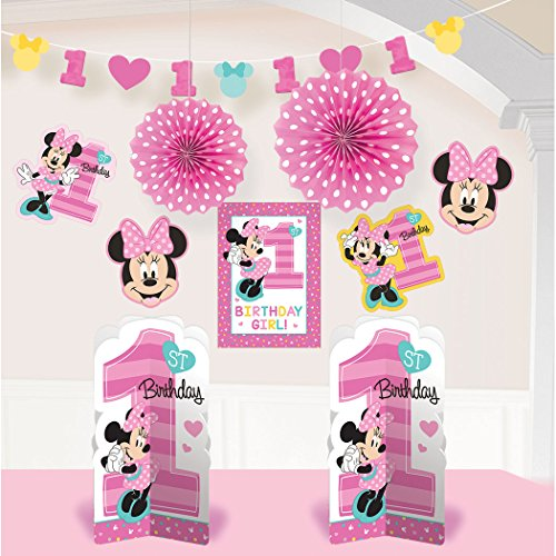 1st Birthday Minnie Mouse Room Decorating Kit 10 piece Party Supplies Minnie Fun to be One!