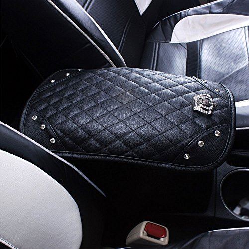 (Qimei Car Armrest Cover Center Console Cushion Lid Handrail Box Pad Soft PU Leather + Bling Crown Decoration Cushion (A - Black))