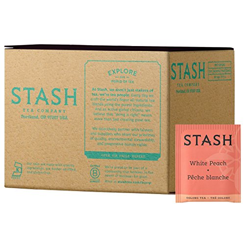 Stash Tea White Peach Oolong Tea 100 Count Teabags in Foil (packaging may vary) Individual Oolong Black Tea Bags, Use in Teapots Mugs or Cups, Brew Hot Tea or Iced Tea