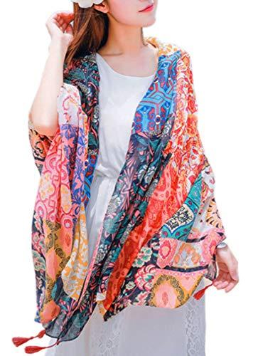 Women's Boho Bohemian Soft Blanket Oversized Fringed Scarf Wraps Shawl Sheer Gift (Orange Floral)