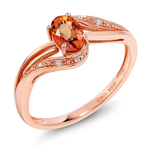 10K Rose Gold Orange Sapphire and White Diamond Engagement Bypass Ring 0.59 Ct Oval (Size 7)
