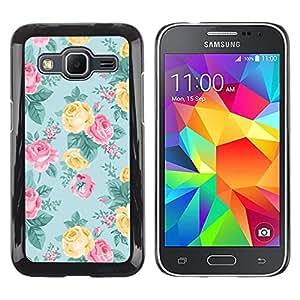 Be Good Phone Accessory // Dura Cáscara cubierta Protectora Caso Carcasa Funda de Protección para Samsung Galaxy Core Prime SM-G360 // rose teal pink yellow floral pattern