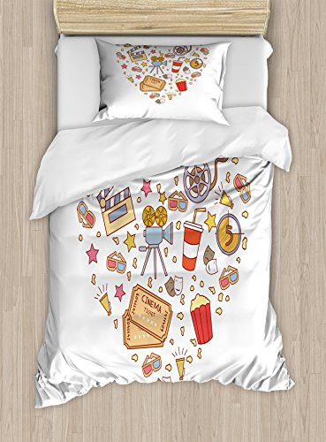 Ambesonne Movie Theater Twin Size Duvet Cover Set, Cinema Attribute Love Retro Icons Collection in The Shape of a Heart Colorful, Decorative 2 Piece Bedding Set with 1 Pillow Sham, Multicolor by Ambesonne