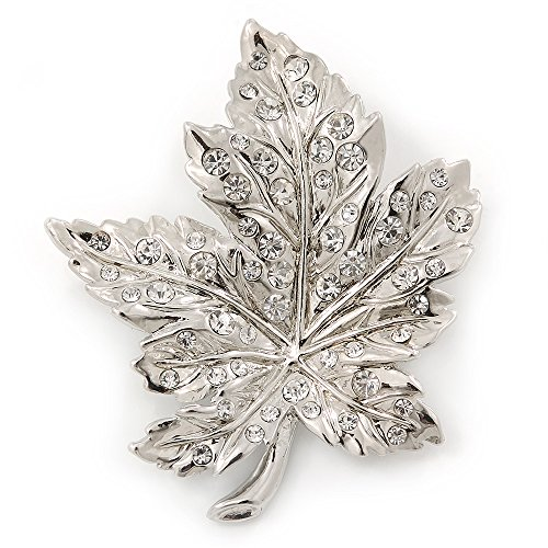 Silver Tone Leaf Brooch - Avalaya Silver Tone Clear Crystal Maple Leaf Brooch - 50mm L