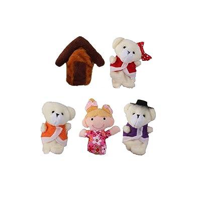 5 PCS Ricitos de Oro y los osos de felpa Títeres de dedo Contar historias Nursery cuento de hadas perfecto regalo de Navidad de cumpleaños: Amazon.es
