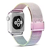 ADWLOF Compatible for Apple Watch Band 38mm 40mm,Stainless Steel Mesh Sport Wristband Loop with Strong Magnetic Closure Strapfor iWatch Series 1,2,3,4,Colorful