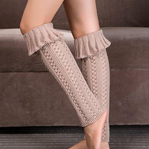 Lerben Womens Stylish Flanging Knitting Warm Tie Scaldamuscoli Gambaletti Beige Alto Ginocchio